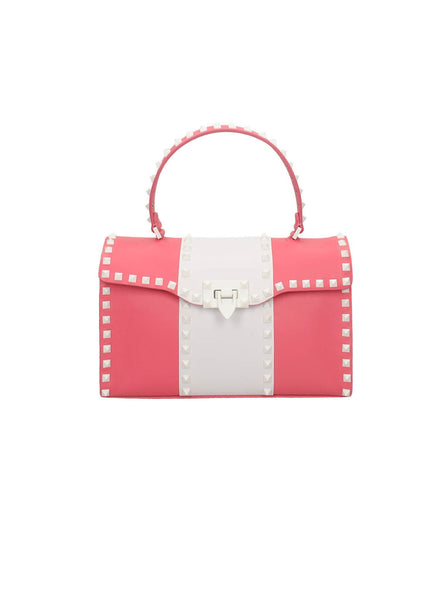 Free Rockstud Striped Top Handle Bag - White / Pink
