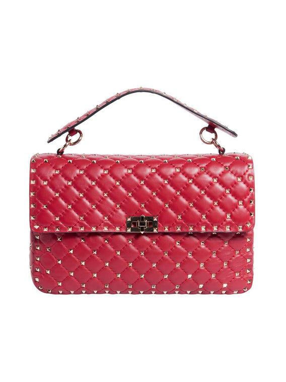 Large Rockstud Spike Chain Shoulder Bag - Red