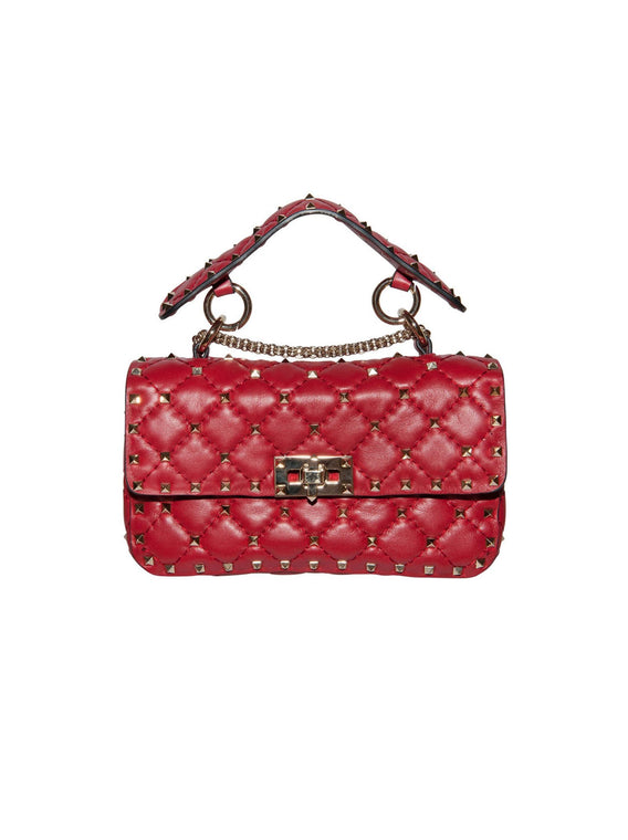 Small Rockstud Spike Chain Shoulder Bag - Red