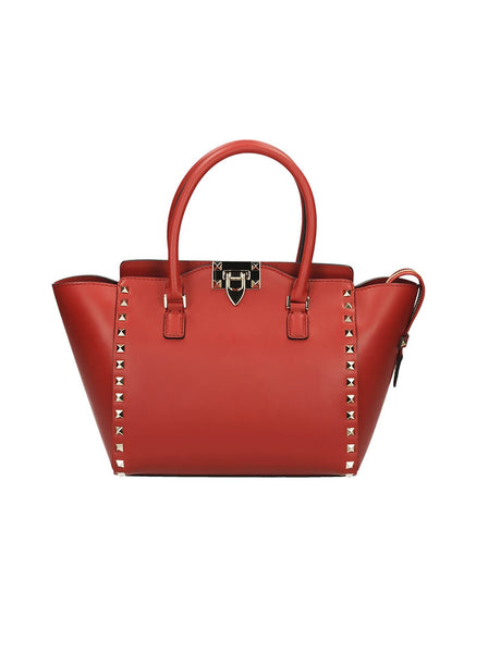 Small Rockstud Double Handle Tote Bag - Red