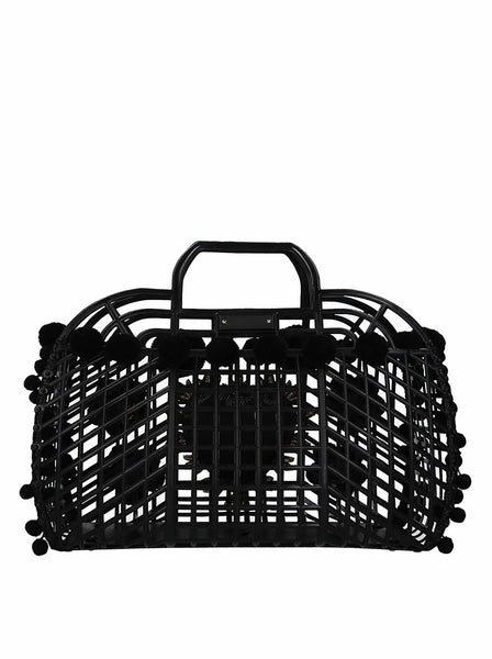 Kendra Embroidered PVC Shopping Bag - Black