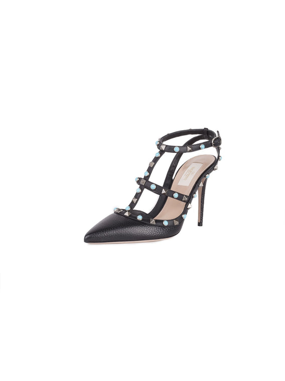 Rockstud Rolling Ankle-Strap Leather Pumps