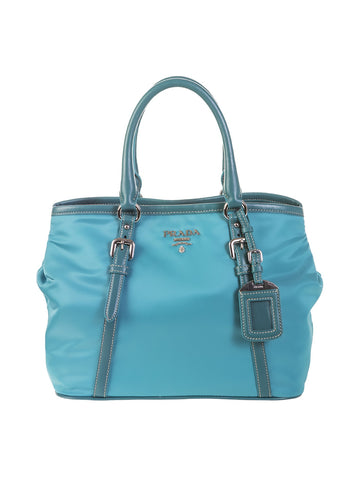 Leather Trimmed Tote Bag - Turquoise