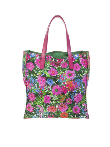 Nylon Floral Tote Bag - Pink / Multi