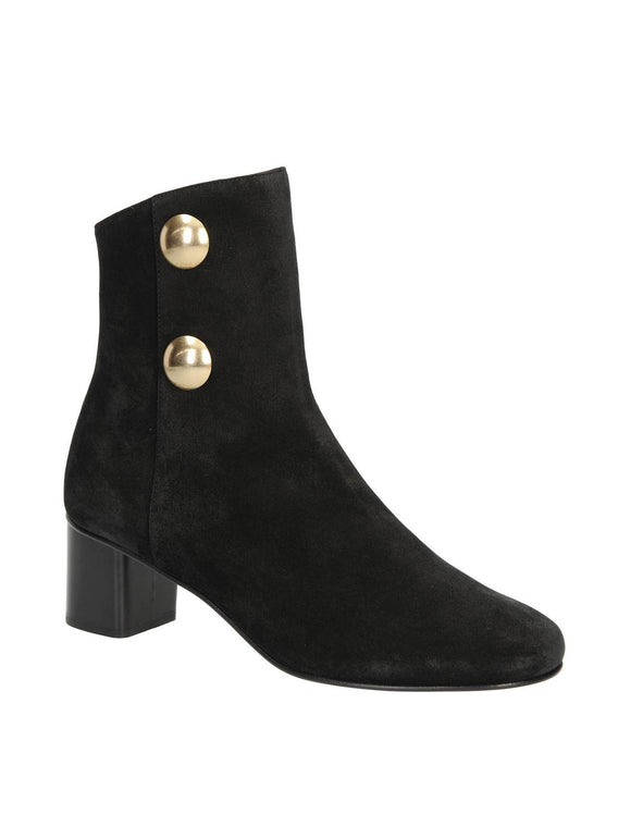 Orlando Suede 2 Gold Button Ankle Boots - Black