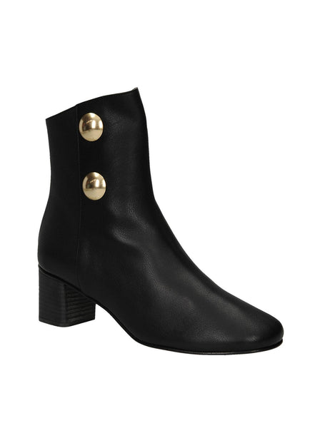 Orlando Leather 2 Gold Button Ankle Boots - Black