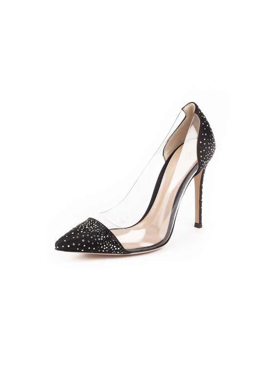 Crystal Plexi PVC Satin Pumps - Black