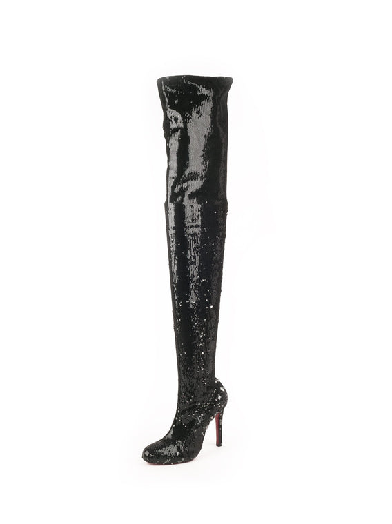 b100dacf620 Christian Louboutin - Louise X Sequin Over The Knee 100 Boots - Black