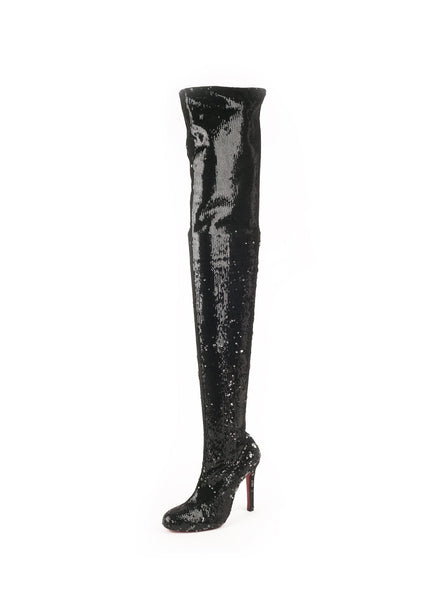 Louise X Sequin Over The Knee 100 Boots - Black