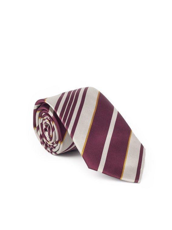 Multi Repp Stripe Silk Tie - Red / Beige / Yellow