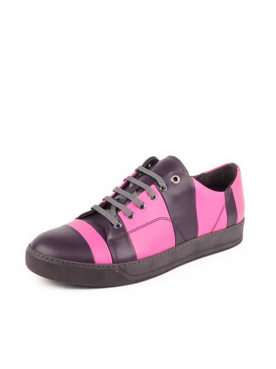 Classic Low-Top Sneakers - Plum / Fluo Pink