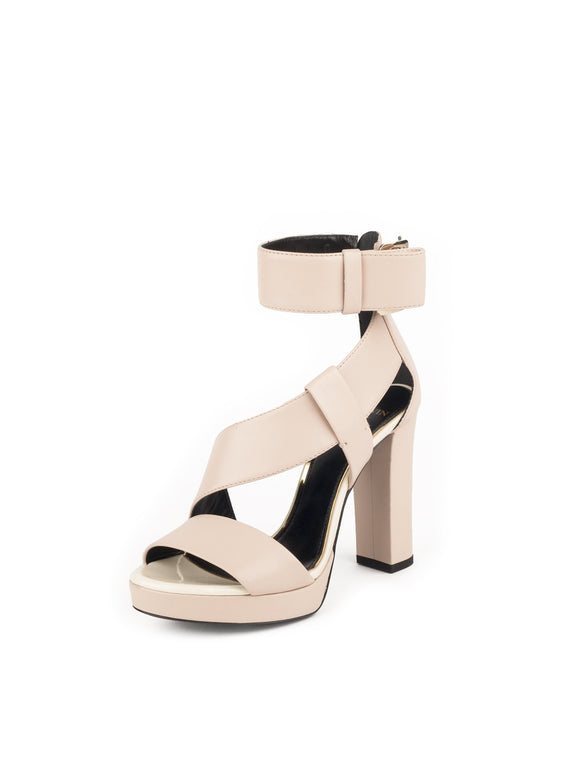 Leather Platform Sandals - Nude