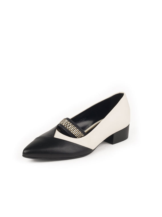 Chain Vamp Two Tone Pumps - Black / Ivory
