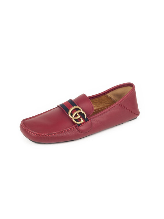 (Men's) Double G Leather Web Moccasin Loafers - Red