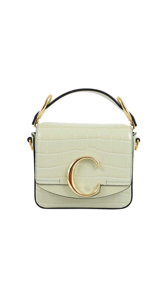 Mini Chloé C Bag in Embossed Croc Effect on Calfskin - Light Eucalyptus