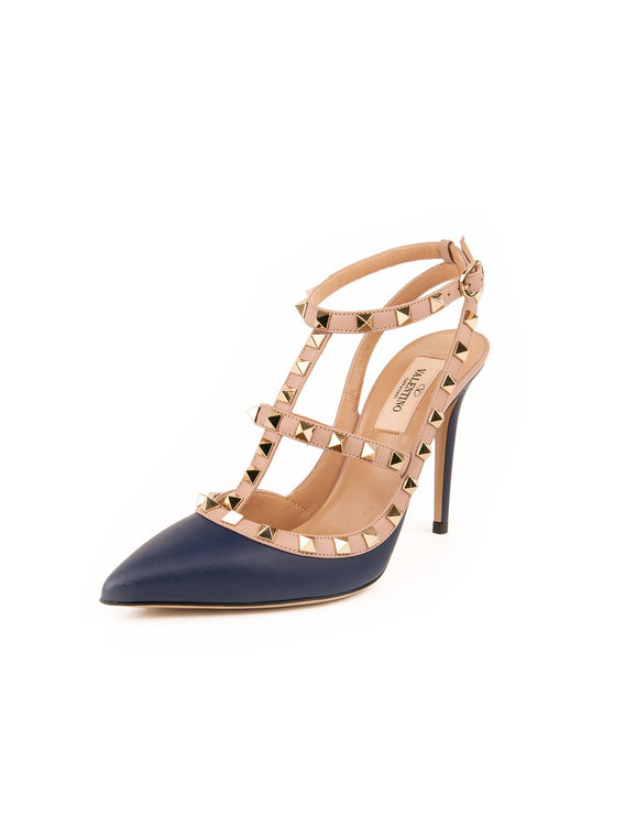 Rockstud Leather T-Strap Pumps - Navy / Blush