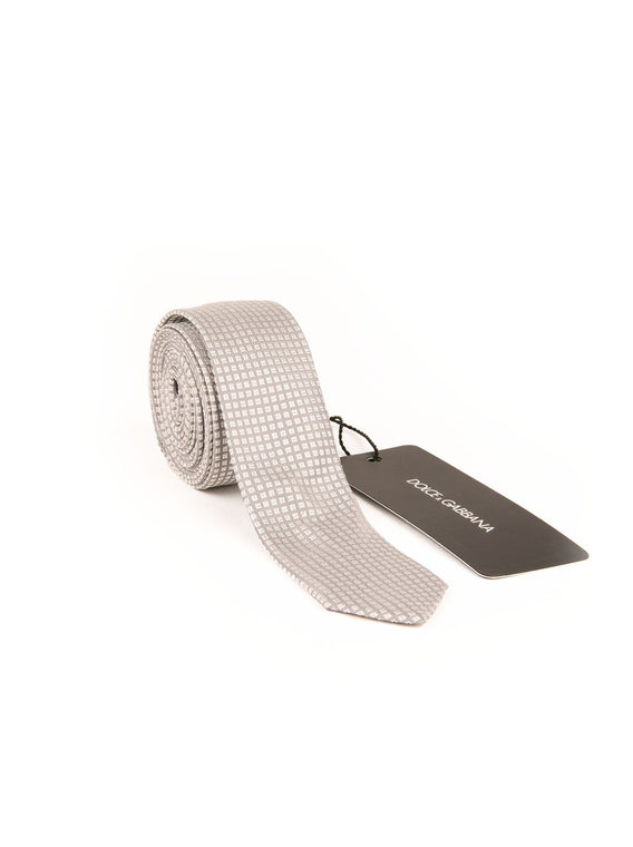 Silk Square Skinny Tie - Gray