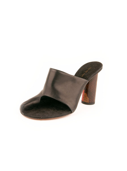 Pirate Leather & Snakeskin Mule - Black