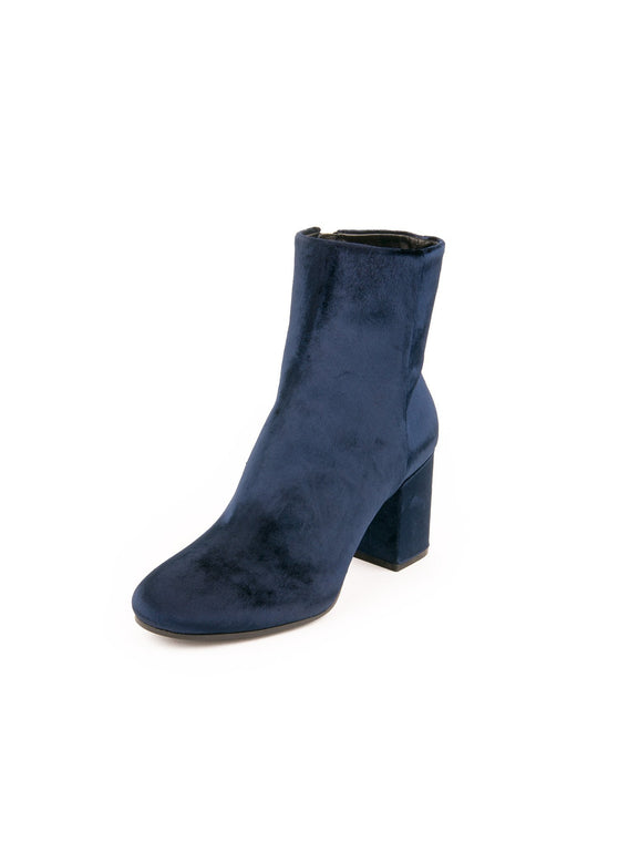 Velvet Zip Up Block Heel Ankle Boots - Blue