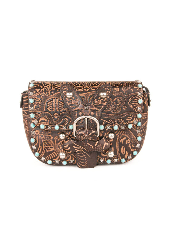 Butterfly Etched Leather Studded Shoulder Bag - Brown
