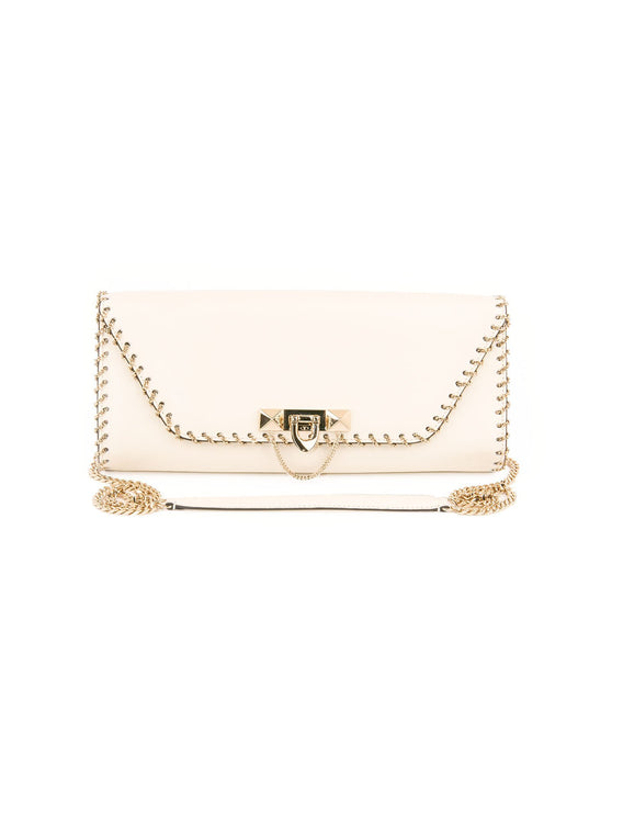 Demilune Vitello Leather Shoulder Bag - Off white