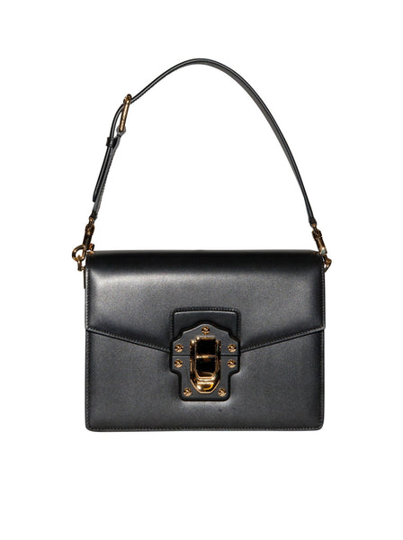 Leather Push Lock Shoulder Bag - Black