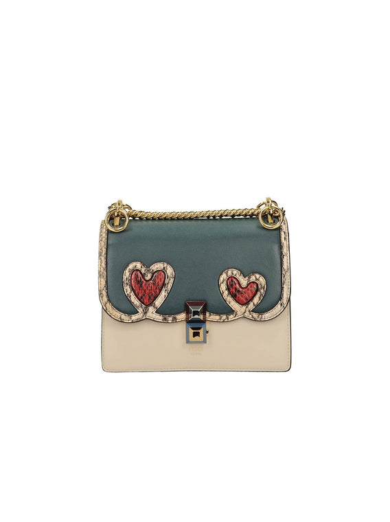 Small Kan I Python Trim Hearts Shoulder Bag  - Green / Off White