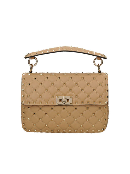 Lambskin Rockstud Spike Medium Chain Shoulder Strap Bag - Beige