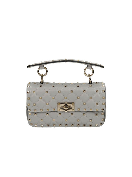 Small Rockstud Spike Chain Shoulder Bag - Pastel Gray