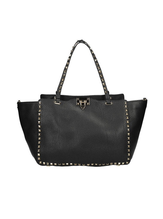 Medium Rockstud Leather Tote Bag - Black
