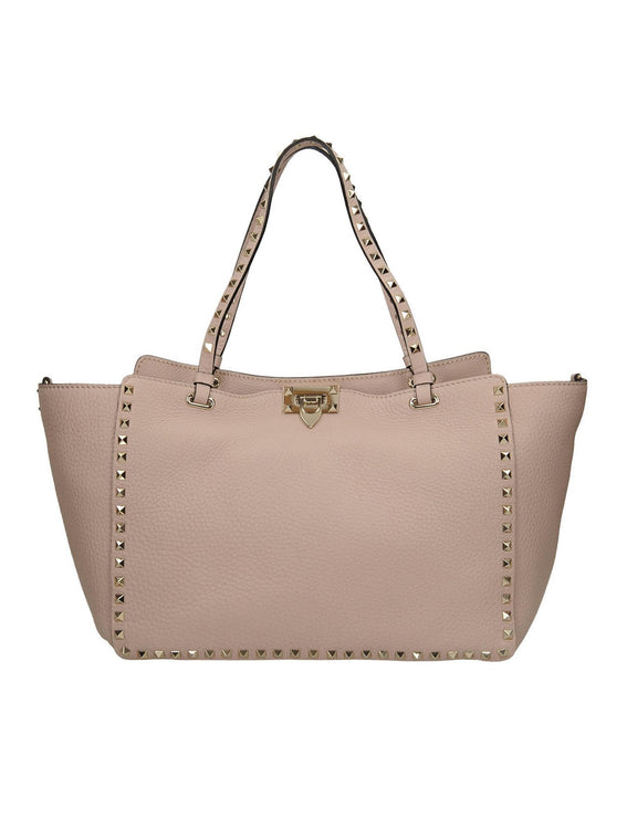 Medium Rockstud Leather Tote Bag - Poudre