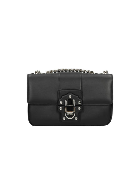 Leather & Chain Push Lock Shoulder Bag - Black
