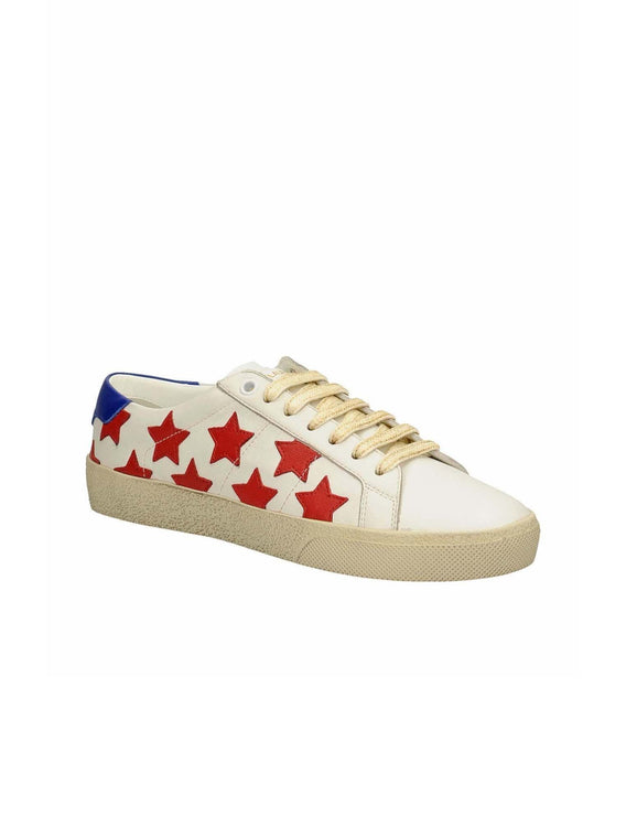 Court Classic Star Embellished Low Top Sneakers - Red / White / Blue