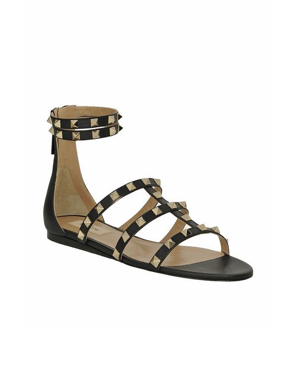 Rockstud Double Ankle Strap Zip Leather Flats - Black