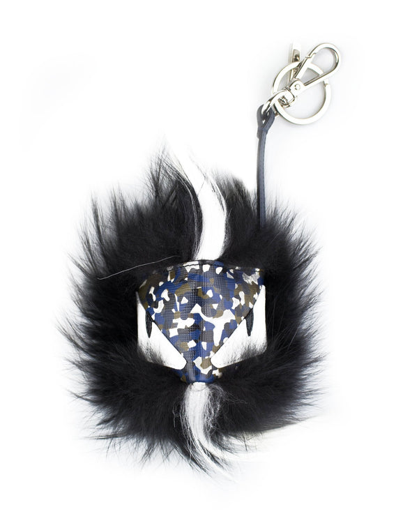 Charm Cube Monster Fur Handbag Key Charm - Black