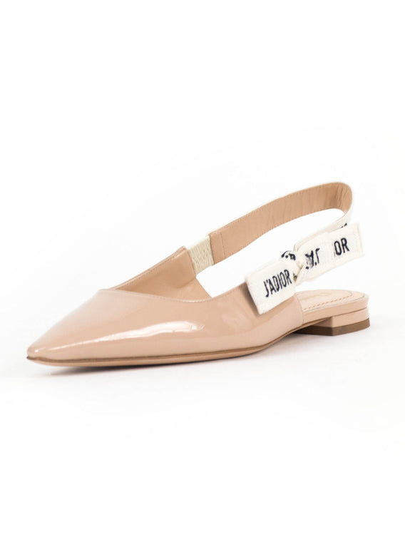 J'ADIOR Leather Slingback Flats - Nude