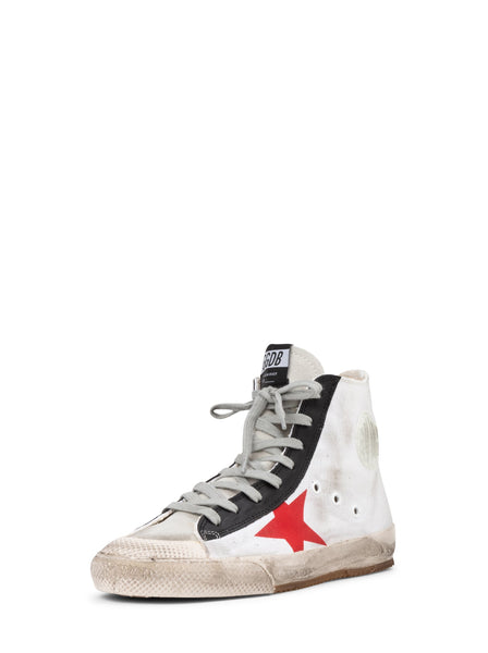 Francy Distressed High Top Sneakers - White / Black / Red