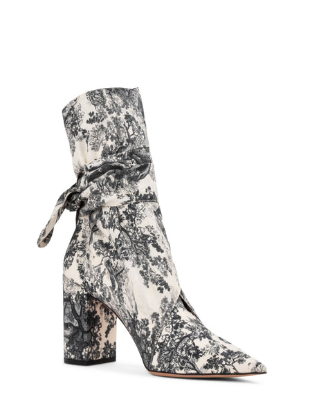 Huggy Toile de Jouy Fabric Ankle Boots