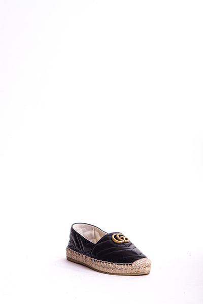 Marmont Double G Leather Espadrilles - Black