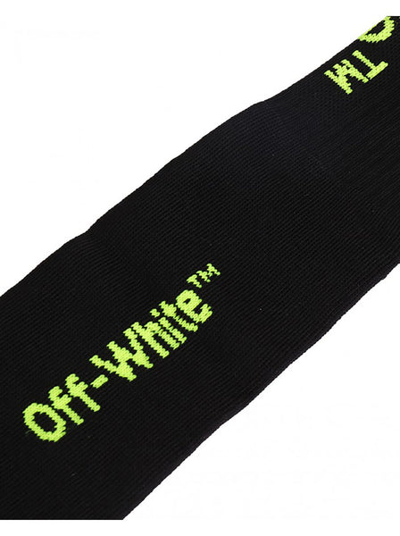 Diagonal Embroidered Socks - Black / Fluo Yellow