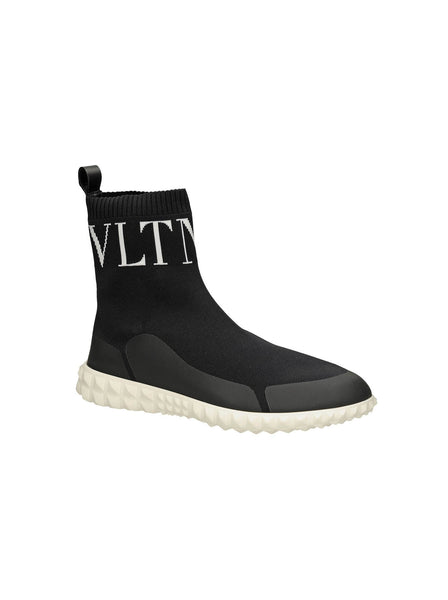 """VLTN"" Stretch-Sock Knit High Top Sneakers - Black"