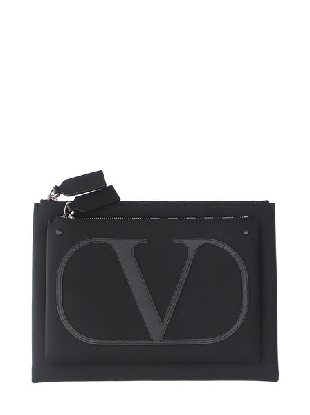 VLogo Leather Trim Nylon Double Pouch