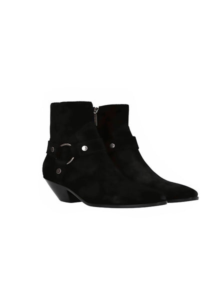 Suede Harness Ring Booties - Black
