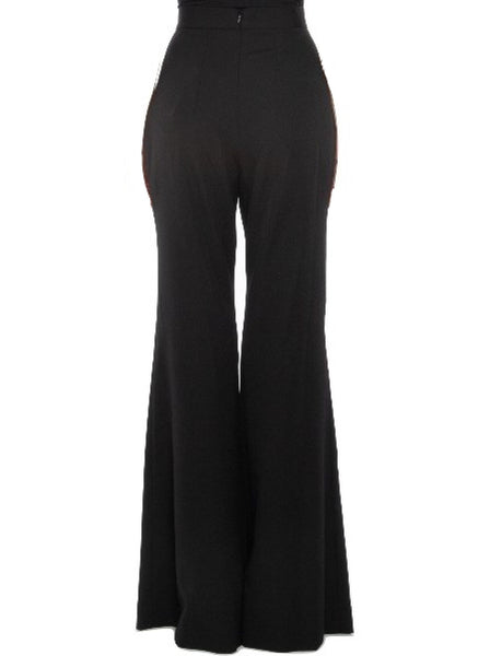 Flared High-Waisted Wool Trousers