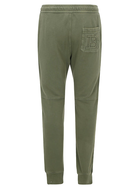 Cotton Ridged Monogram Embellished Sweatpants