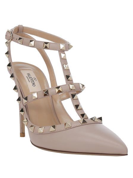 Caged Calfskin Rockstud Pumps