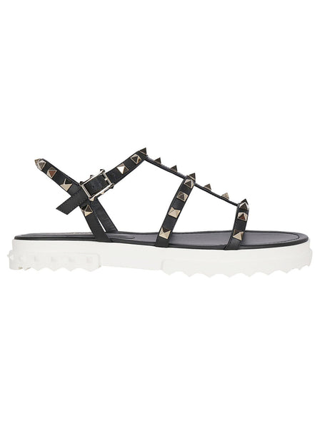 Caged Leather Rockstud Sandals