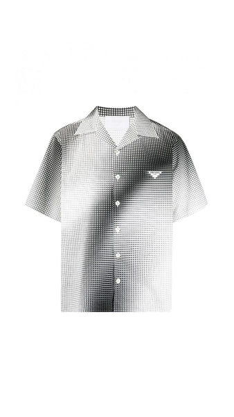 Digital  Print Heavy Cotton Bowling Shirt - Black