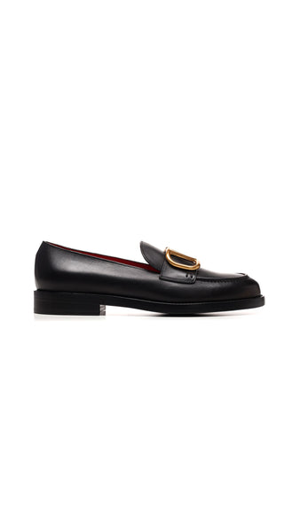 Valentino V Logo Loafers - Black