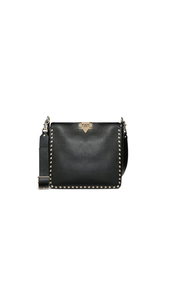 Small Rockstud Hobo Bag - Black